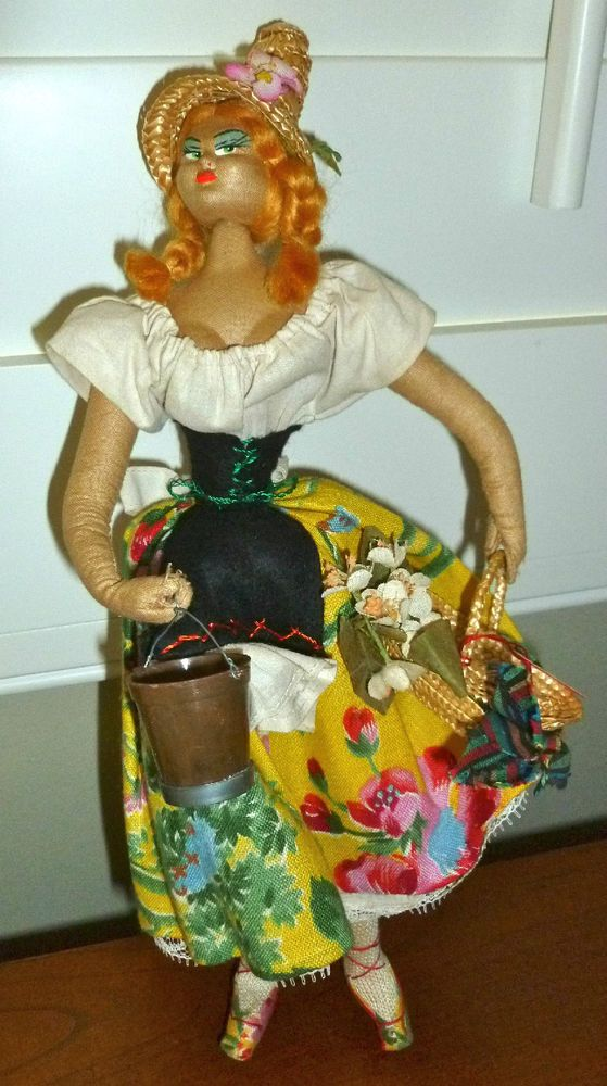 Colorful Made in SPAIN TAG Cloth Lady LAYNA DOLL with Basket & Bucket LOVELY