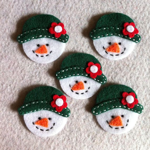 Winter snowman felt appliqués set of 5 by Lucismiles
