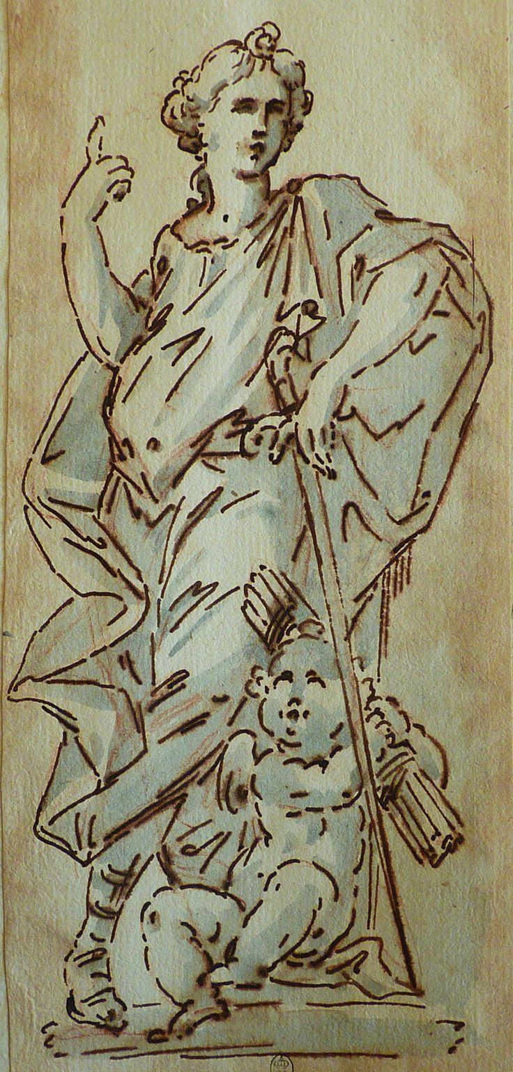 ITALIE 17e Femme appuyée sur une Epée et Amour assis  ses pieds drawing dessin disegno Louvre INV Detail 01 TAGS details détail détails
