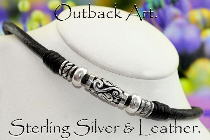 4N-587 Solid Sterling Silver & Leather Cord Combo Unique Choker Men Necklace.