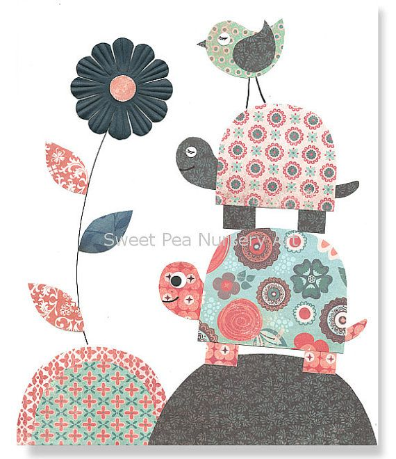 Aqua, Navy, Coral Nursery, Nursery Bird, Turtle Nursery, Aqua and Coral, Girl nursery,  8 x 10 Print, Cute Nursery Art, Shabby Chic on Etsy, $15.00