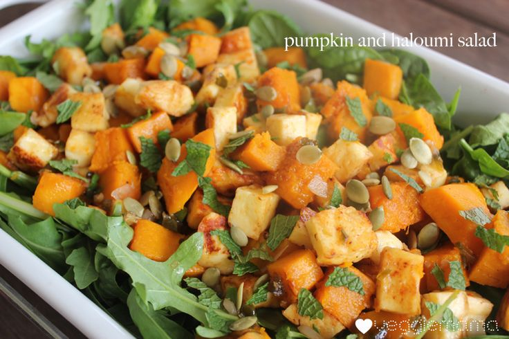 Pumpkin and Haloumi Salad with a Honey-Jalapeno Dressing - The Veggie Mama