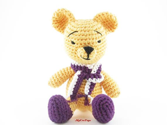 Handmade crochet bear is perfect gift for children and adult. Height - approximately 12 cm. The hat and scraft can be taken off. Materials - 100% cotton yarn and stuffed with hollowfiber. Can be washed in the washing machine. Delicat wash, no higher than 30 degrees and place it in a mesh