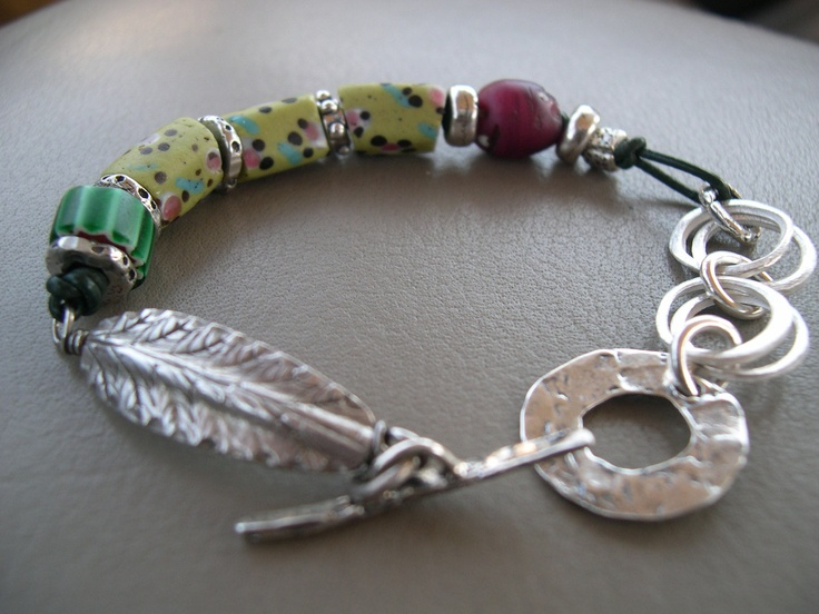 African Trade Bead Sterling Silver Bracelet.