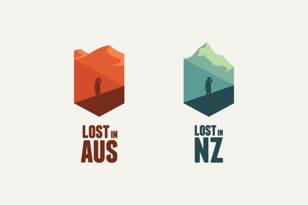 """LOST IN,"" branding for a tourism company, Lost In. I love how the top landscape and colors can adapt to the unique locations while keeping the look and feel of the company's identity. By James Allan, via Behance."