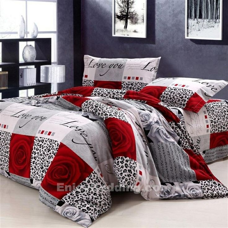 Rose Pattern and leopard print 100% Cotton Love Bedding Sets in black white and red- EnjoyBedding.com