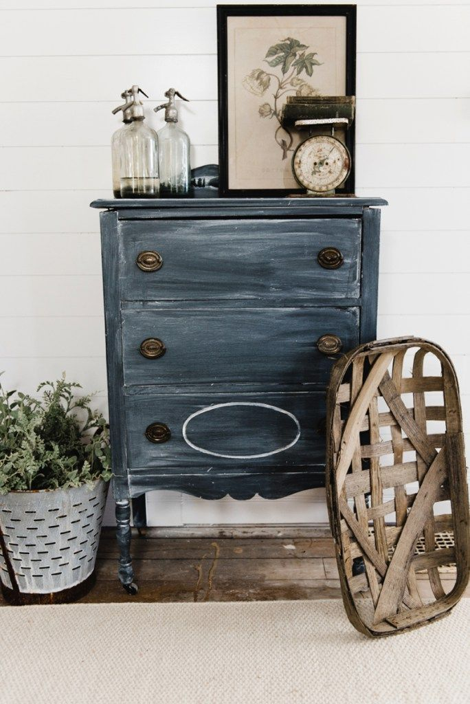 blFarmhouse style black dresser makeover - Get the look with black chalk paint & white wax. A great pin for cottage style & farmhouse style decor!