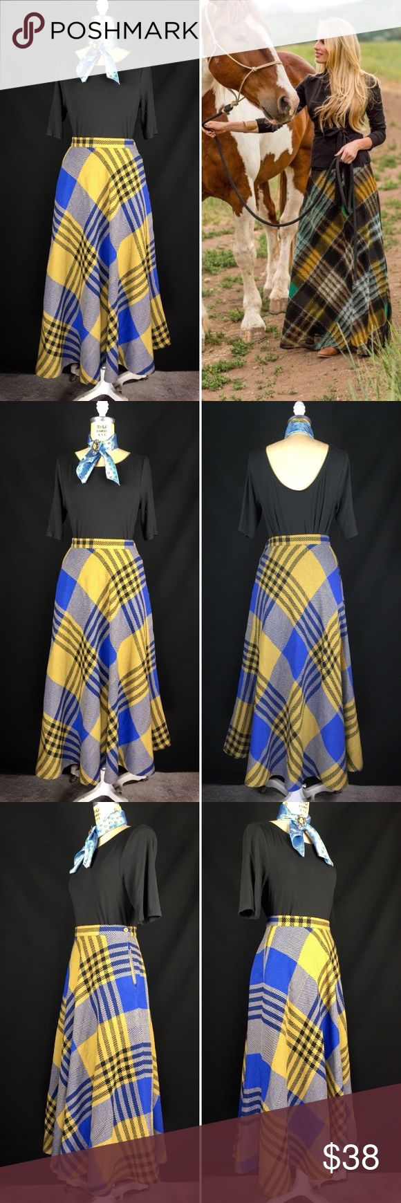 """1980's DVF Plaid Wool Blend A-line Long Midi Skirt Vintage 1980's Diane Von Furstenberg Plaid Wool Blend A-line Midi Skirt. Excellent vintage condition. Blue, Black and olive green wool blend plaid. Side button closure. A-line styling with hip pockets. Labeled a size 8. Fits modern 6. Measurements of the item in inches when flat: Waist: 13"""" Hips: 24"""" Hemline: 58"""" Length: 34"""" Feel free to contact me with any questions you may have. Please take a look at my other unique listings too. Thanks…"""