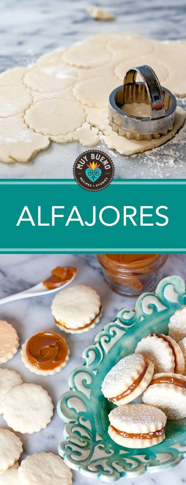 Alfajores (Dulce de Leche Shortbread Cookies) - Muy Bueno Cookbook    If a dessert has dulce de leche you can bet I'm probably going to love it. These cookies are beautiful for a spring brunch, a baby shower, or a wedding. They are so elegant looking and extremely delicious. My dough recipe has a citrus hint from orange zest and orange extract. The hint of citrus gives these classic shortbread cookies an extra zing.