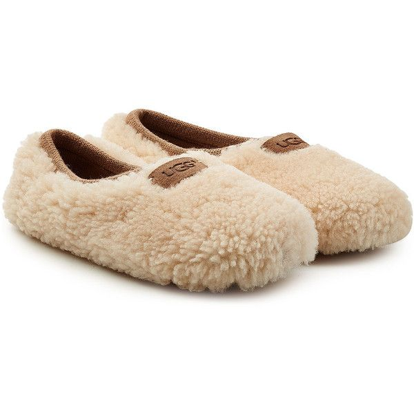 UGG Australia Birche Sheepskin Slippers (€71) ❤ liked on Polyvore featuring shoes, slippers and grey