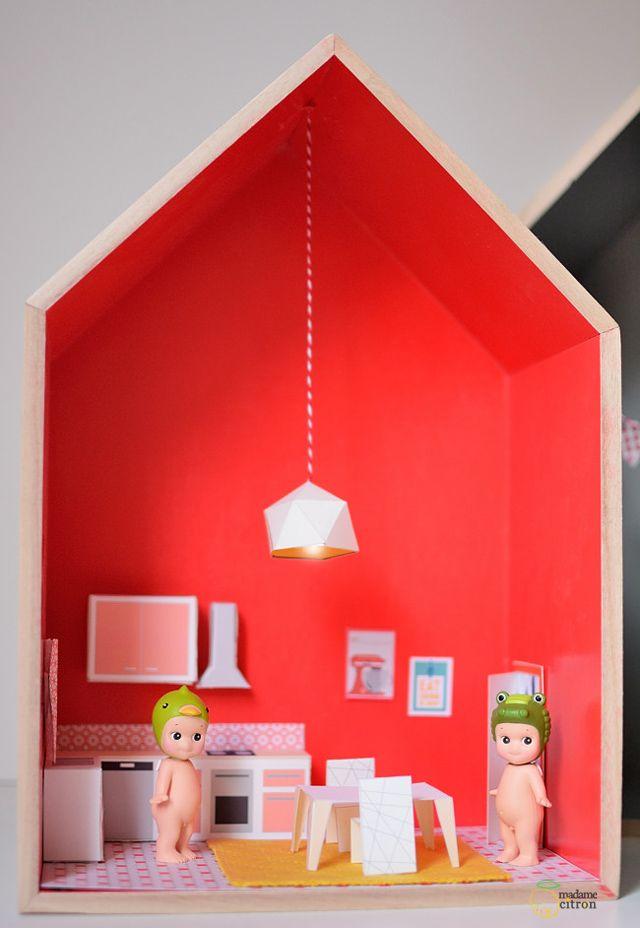 Diy une maison de poup e en papier la cuisine imprimer - Maison en papier a imprimer ...