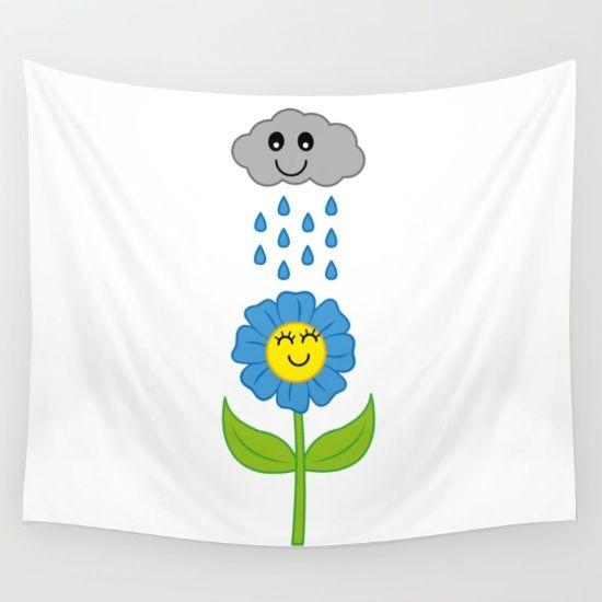 Happy Rain Wall Tapestry by FishDesigns | Society6