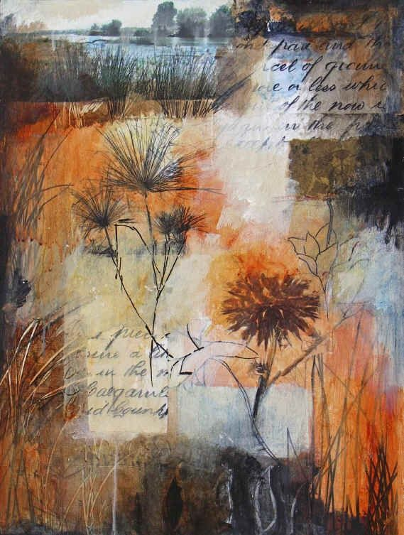 Mixed media collage by Ann Baldwin.