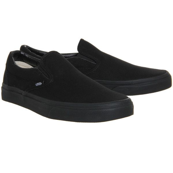 Vans Classic Slip On Shoes Black Mono (82 NZD) ❤ liked on Polyvore featuring shoes, kohl shoes, pull on shoes, black slip-on shoes, vans footwear and vans shoes