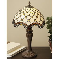 @Overstock - Elegant and redolent of the Jazz Age, this vintage Tiffany style table lamp recreates the wonderful designs that Louis Tiffany pioneered almost a century ago. Hand-cut stained glass, a fine copper foil, and a bejeweled finish complete this lamp.http://www.overstock.com/Home-Garden/Tiffany-style-Jewel-Roman-Table-Lamp/4186431/product.html?CID=214117 $70.49