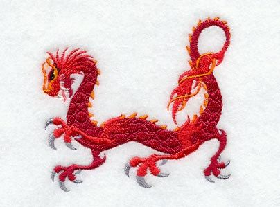 Firery Dragon Walking Embroidered Cotton Terry by VelvetHearts, $16.00