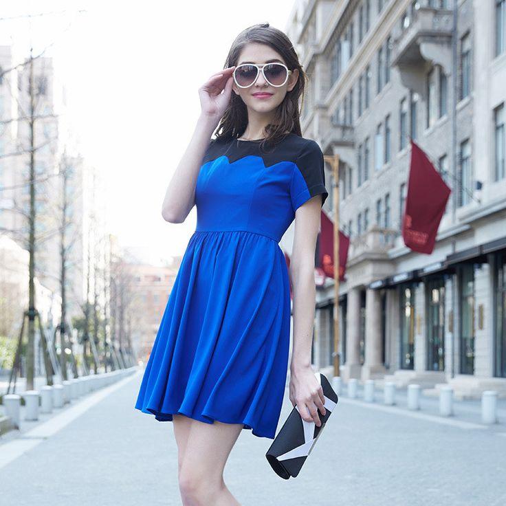 Veri Gude Summer Fit and Flare Contrast Color Dress Ladies Formal Dresses