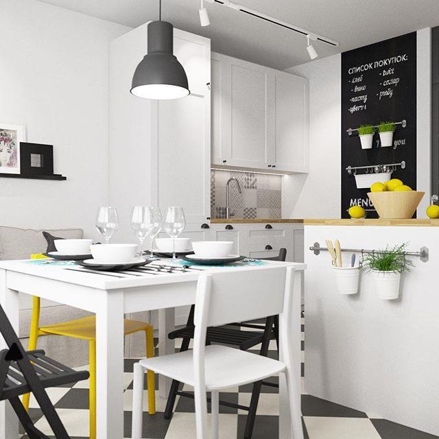 Параллельная большая кухня в скандинавском стиле, с встроенной техникой - добавит удобства в приготовлении, а обеденная зона и зона отдыха с комфортным диваном-кроватью добавили уюта этой кухне. #икеа #ikea #ikeame #дизайн #дизайнкухни #кухняикеа #скандинавскийстиль #графитоваядоска #удобство #идеиесть #дизайндлявсех #möbler