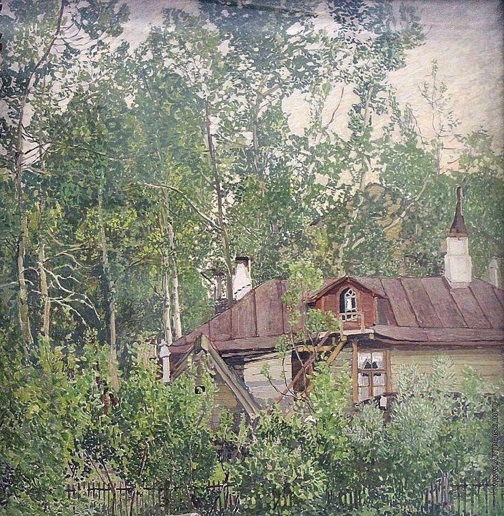 Alexander Golovin (1863 — 1930, Russia) Dacha. 1907-1910 tempera on wood. Александр Яковлевич Головин