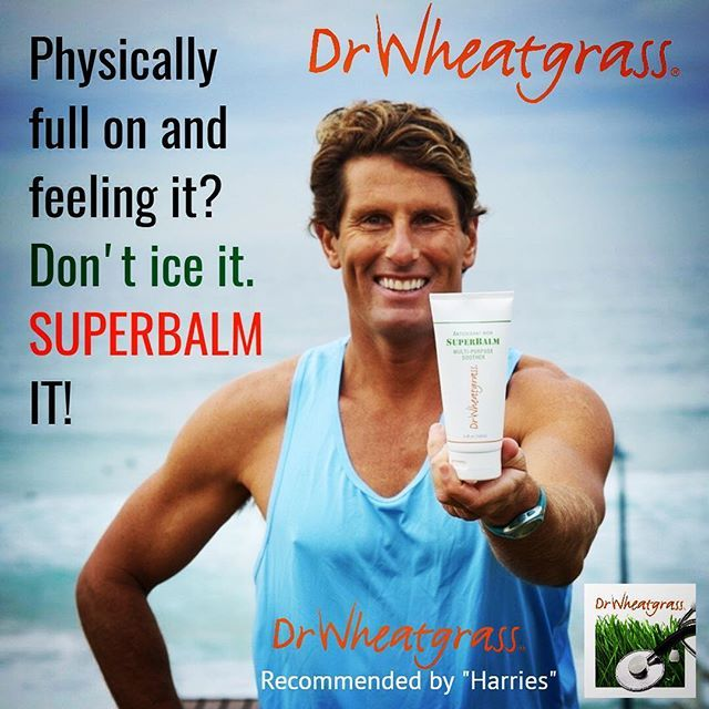 "Superbalm for: - Stiff, sore and cramped muscle soother/relaxant  - Surface and deep tissue massage.  - Ideal for athletes, trainers, physios and masseurs  - Can be applied to broken, burned, chafed or cracked skin.  - Your ""GO-TO"" ailment balm for all ages.    #wheatgrass #sports #fitness #beach #muscles #pain #workouts #drwheatgrass #firstaidkit #superbalm  @harriescarroll @drwheatgrassau"