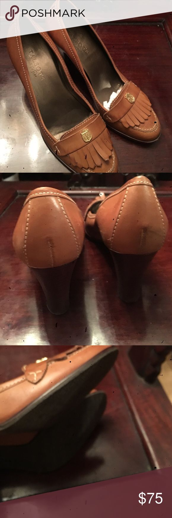 Talbots hign heeled loafer Luggage colored high heeled loafer with kilty. Talbots Shoes Heels