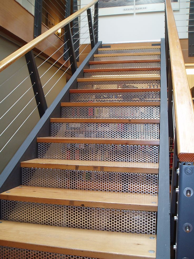 McNICHOLS® Perforated Metal forms risers of a staircase.  For additional home decor ideas, please visit http://www.mcnichols.com.