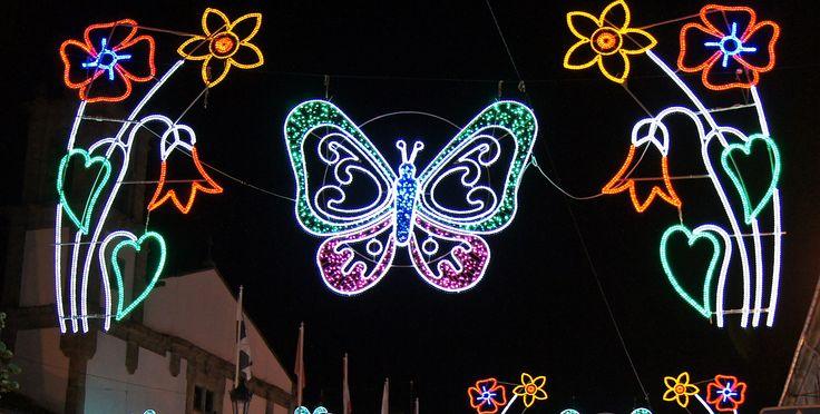 Iluminación Artística con centro de mariposas y laterales de flores www.electromiño.es #electromiño #CiudadesNavidad #luz #colores #mariposa #leds #led #alumbrado #alumbradofiestas #flores #laterales #lucesdecolores