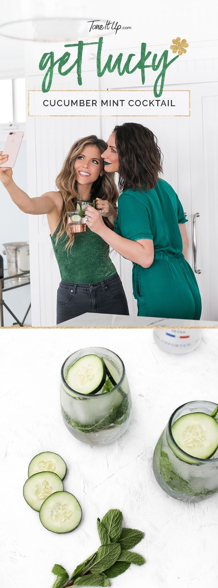 This healthy cucumber mint cocktail is the perfect way to celebrate St. Patrick's Day! Find the recipe on ToneItUp.com.