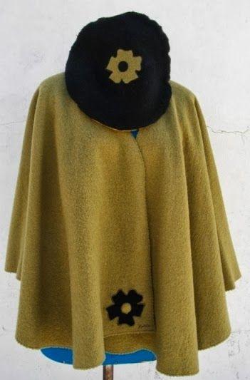 Capa em lã fervida, o chapéu é a parte  http://moda-lolita72.blogspot.pt/