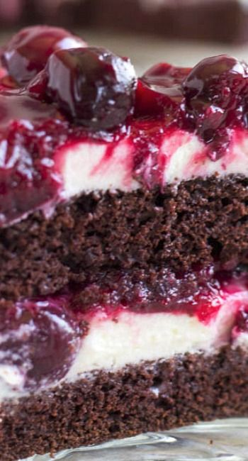 Chocolate Cake with White Chocolate Mousse and Cherry Sauce Recipe ~ ultimate chocolate heaven!