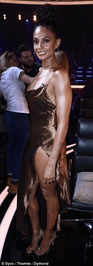 Go for gold in Alesha's metallic midi dress #DailyMail