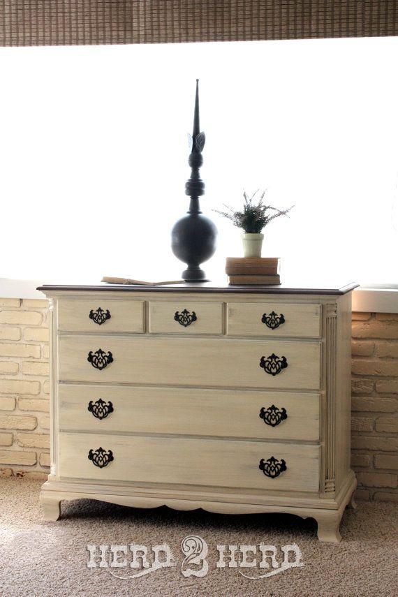 Cream Dresser With Wood Top Living FurnitureBedroom