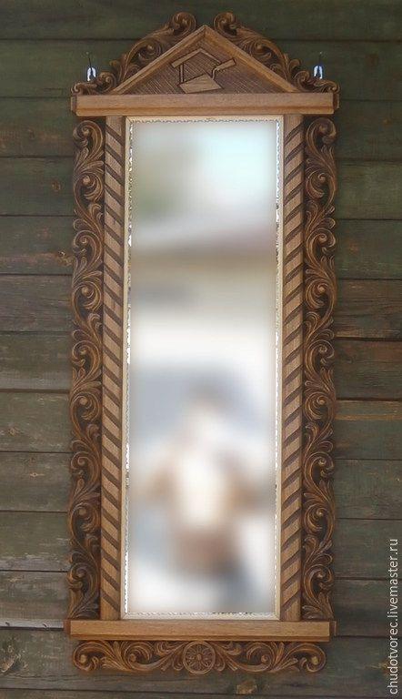 """Купить Резное деревянное зеркало """"Спец"""". - коричневый, резное зеркало, деревянная рама, орех"""