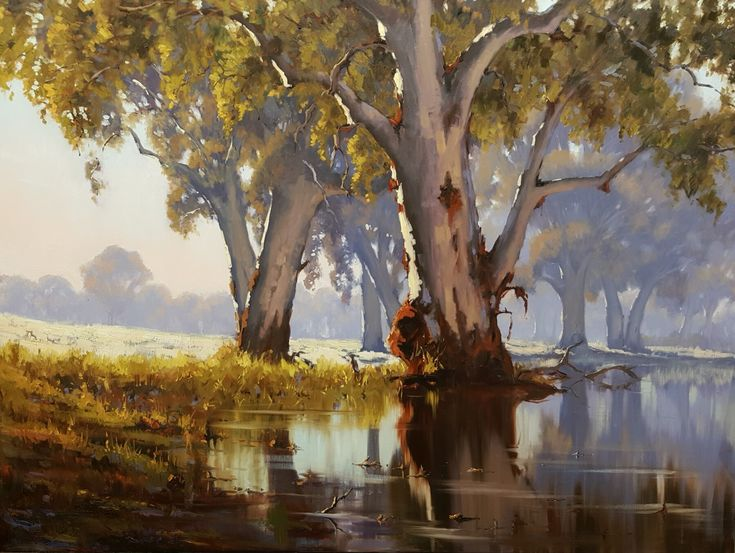 'Lady of the lagoon'. Oil.  Original artwork by Kathy Ellem. #landscapepainting. Australian landscape painting.