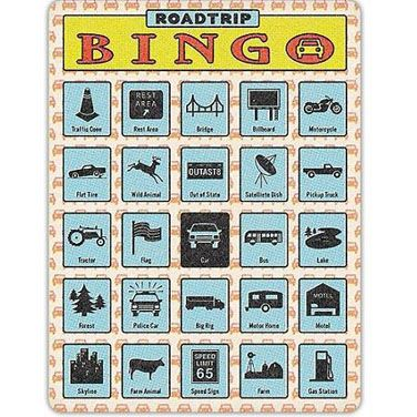 "Keep the kids entertained in the car!  This Roadtrip Bingo Game is sure to cut down the number of ""are we there yet?"" This new twist on the classic is completely self-contained and portable, with punch-through icons to mark bingo.  This set contains 12 bingo cards for up to 12 players or many games.   The winner gets to ask ""are we there yet?""Bingo set:-set of 12 unique cards for 12 players or multiple games -size: 6.375 x 8.375 inches;"