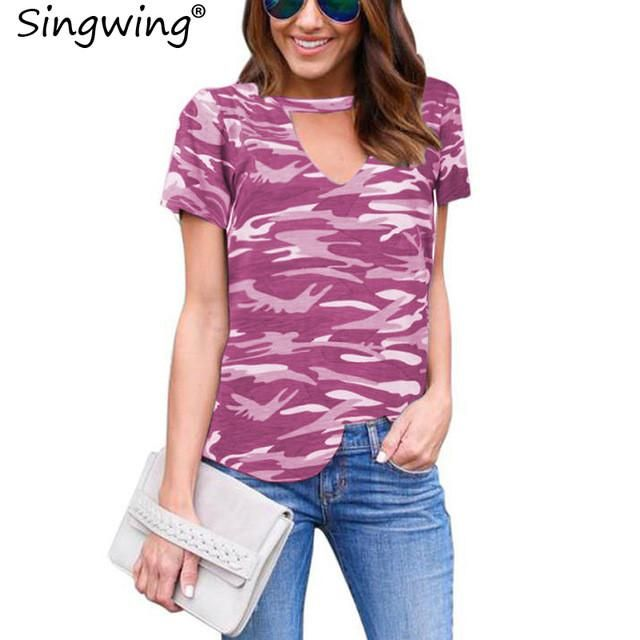 Women Camouflage T-shirts Summer v-neck Leisure camouflage printed t-shirts female short sleeves Shirts Tops