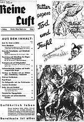 Reine Luft, (Pure air)-the main journal of the anti-tobacco movement, used puns and cartoons in its propaganda, such as suggesting smoking was promoted by the devil.The statistics of annual cigarette consumption per capita as of 1940 had Germany at only 749, while Americans smoked over 3,000.