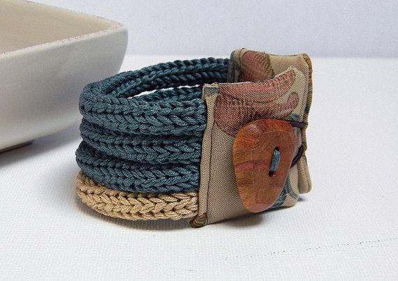 Cotton yarn knitted bracelet,deep water green and sand -  QUATTRO - One of a kind and ready to ship