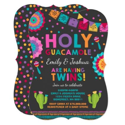 Fiesta Twin Baby Shower Invitation Holy Guacamole - baby gifts child new born gift idea diy cyo special unique design