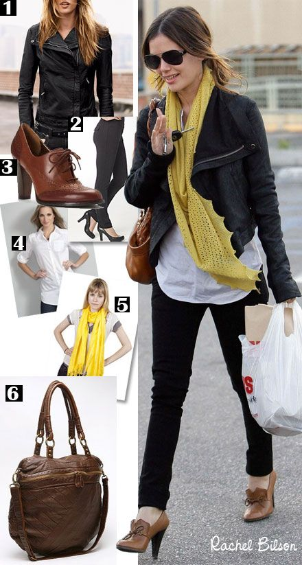 Rachel Bilson wears her Rick Owens leather jacket with a yellow scarf and lace up oxford heels.