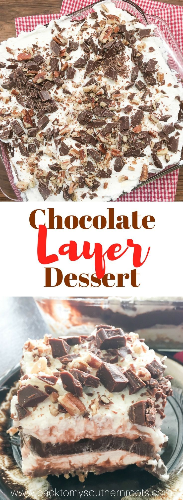 Chocolate layer dessert with a graham cracker crust, homemade whipped cream, chocolate pudding, and cream cheese is a delicious recipe. The easy recipe is the perfect dish for a party, the holidays, or for dessert at home. #chocolate #layer #dessert #creamcheeses #whippedtopping #whippedcream #grahamcrackers #pecans #puddings #easy #sweettreats