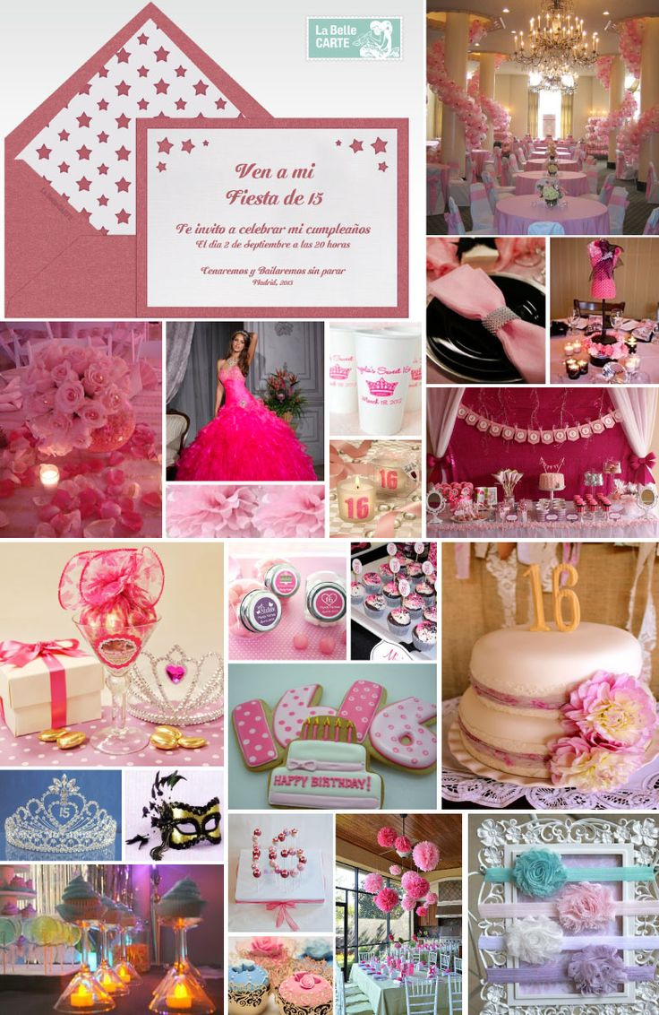 Ideas for birthdays, Sweet 16, party pink, girls pink, invitations for sweet 16    For more Info: www.LaBelleCarte.com