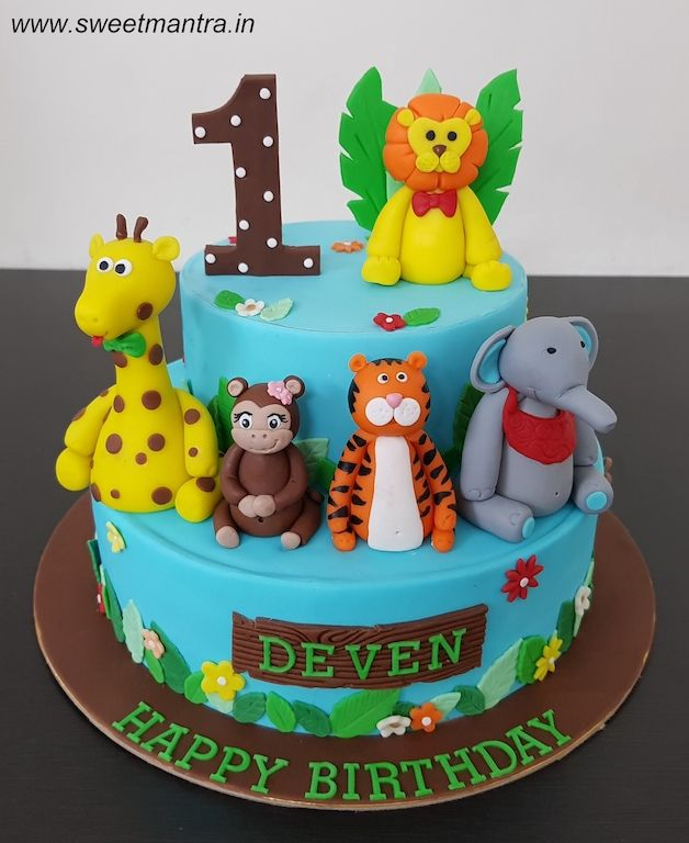 3d Animals Theme 2 Layer Customized Fondant Cake For Boy S 1st Birthday At Pune Cake Home Delivery Boy Birthday Cake Fondant Wedding Cakes