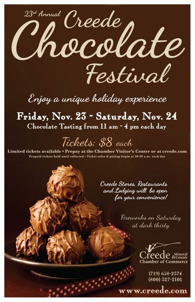 comine up the 23rd creede chocolate festival in creede. Black Bedroom Furniture Sets. Home Design Ideas