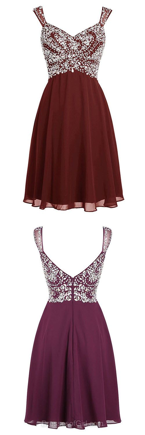 Casual Summer Dresses, Beading Homecoming Dresses, Burgundy Cocktail Dresses, Backless Party Gowns, Promotion Chiffon Prom Dresses