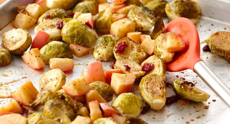 Roasted Brussels Sprouts & Apples. This is kind of interesting but ...