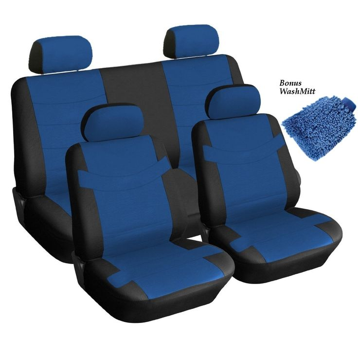 Unique Leather Black & Blue Seat Cover 4 Headrests Steering Accent Bonus (Color), Multi