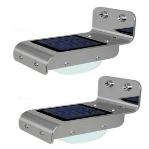 Stainless Steel Solar Motion Light with 16 ultra bright LED. Lighting equivalent to 8 watts energy saving lamp.