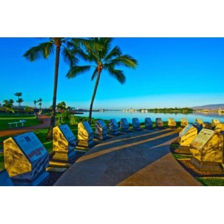 Waterfront Submarine Memorial USS Bowfin Submarine Museum And Park Pearl Harbor Honolulu Oahu Hawaii USA Canvas Art - Panoramic Images (36 x 24)