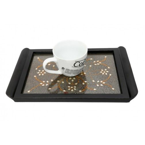 Kundan Work Black Tray (14 Inch X 9 Inch)